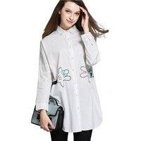 2016 European Oversized Shirts Women Plus Size Long Sleeve Cartoon Mickey Print Loose Cotton White Blouse