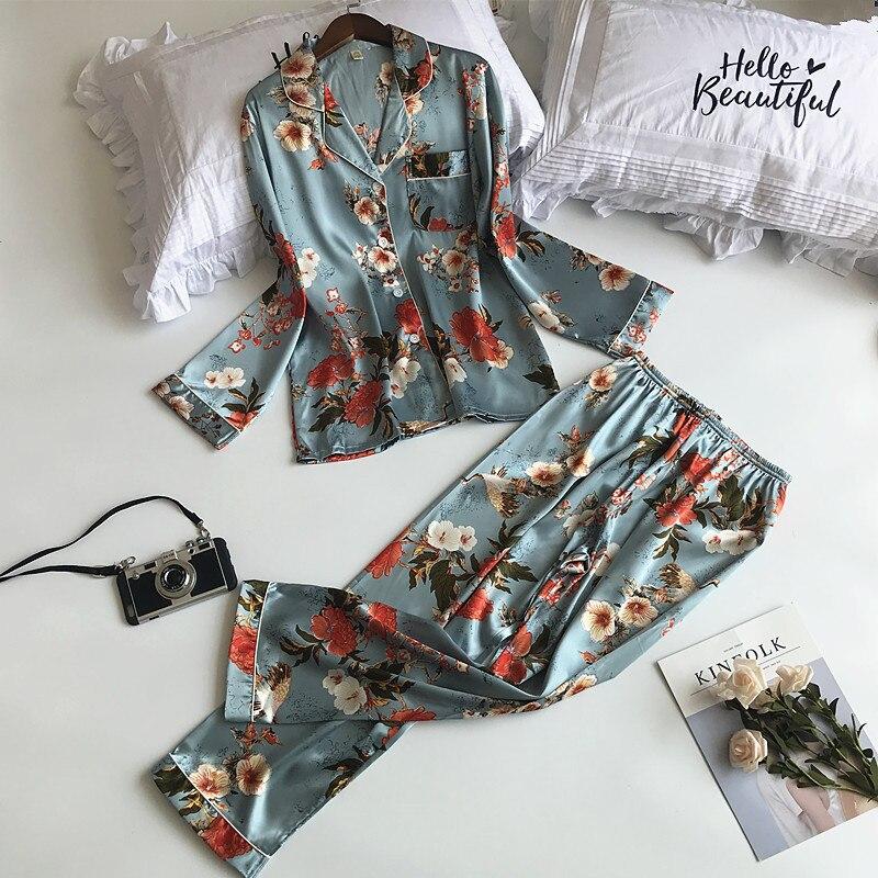 ZOOLIM 2018 Newest 2 PCS Women   Pajamas     Sets   with Pants Sexy Pyjama Flower Print Nightwear Silk Negligee Satin Sleepwear Pyjama