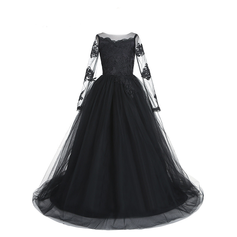 Black Lace Communion Dresses Long Sleeves Flower Girls Dresses Sheer O Neck Tulle Floor Length Princess Kids Pageant Gowns black wave point lace up v neck long sleeves chiffon blouse