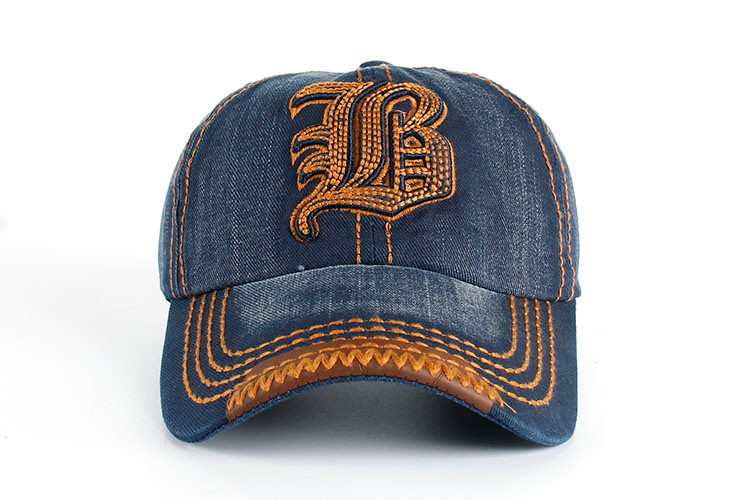 "Embroidered Letter ""B"" Denim Dad Hat - Front View"