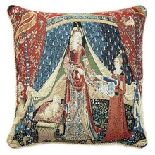 Cushion Cover Cotton Polyester Double Jacquard Knitting Weave Throw Pillow Covers Case art home decor Lady and unicorn