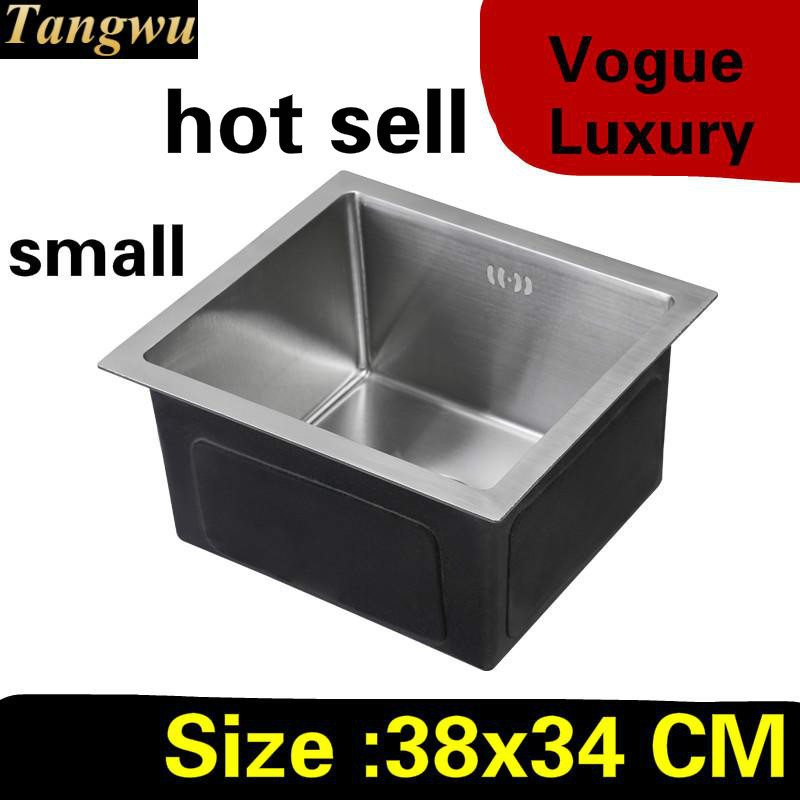 Free Shipping Apartment Mini Balcony Kitchen Manual Sink Single Trough Do The Dishes 304 Stainless Steel Hot Sell  380x340 MM