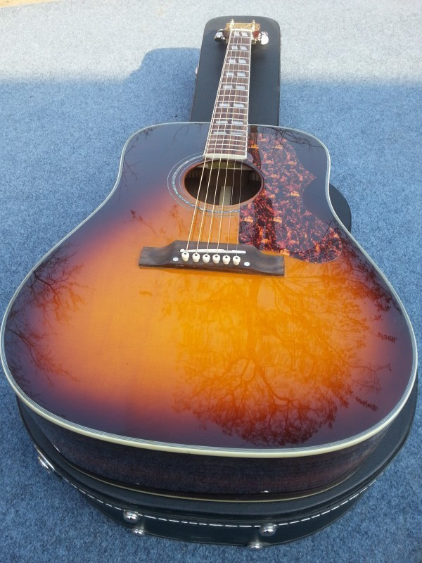 2018 New Factory Sunburst Chibson G45 acoustic guitar classic twin rhombic inlays rosewood body G45 electric