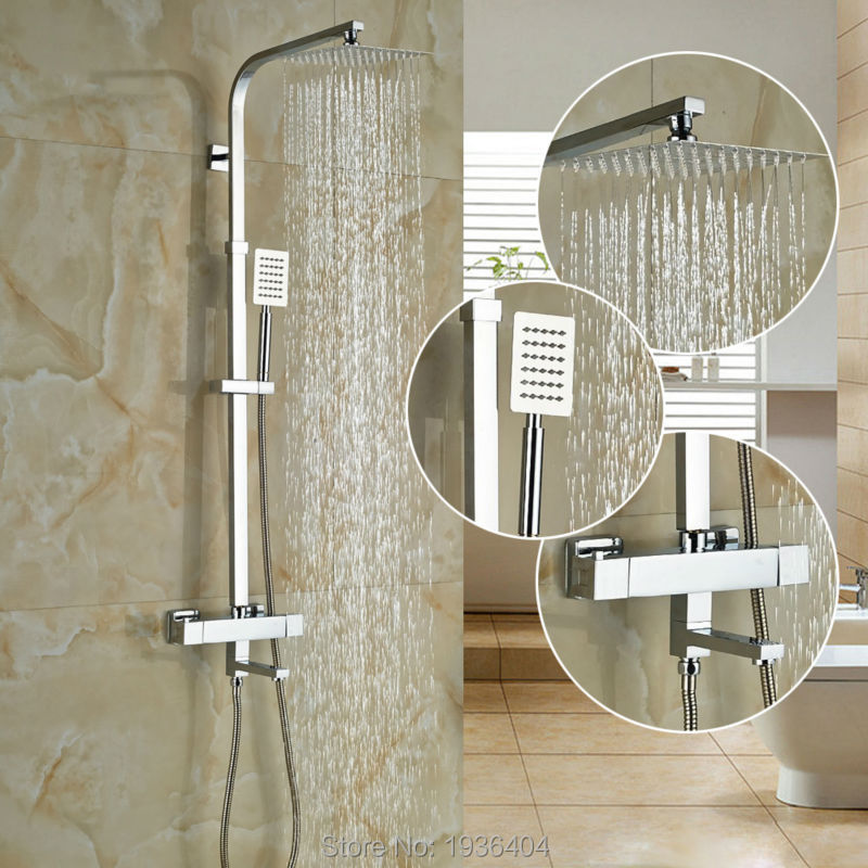 Thermostatic Shower Faucet Set Bathroom Thermostatic Faucet Chrome Finish 8 Shower Head With Handheld Shower Wall Mounted TR524 free shipping polished chrome finish new wall mounted waterfall bathroom bathtub handheld shower tap mixer faucet yt 5333
