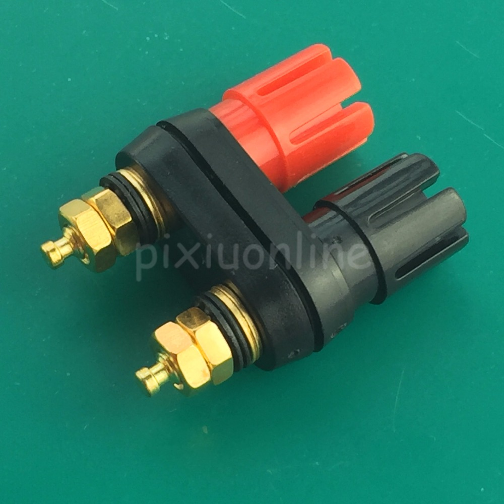 1pc YT1Y Red and Black 4mm Gold-plated Pure Copper Double Output Terminal Banana Socket for Power Amplifier Speaker1pc YT1Y Red and Black 4mm Gold-plated Pure Copper Double Output Terminal Banana Socket for Power Amplifier Speaker