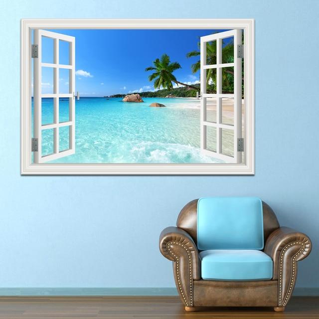 Summer Beach Coconut Tree 3D Window View Sticker Beach Theme Wall ...