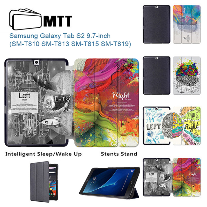 MTT Left Right Brain Slim Flip PU Leather Cover Case For Samsung Galaxy Tab S2 9.7 T810 T813 Tablet Folio Stand Protective shell big ben pattern protective pu leather plastic case w stand for samsung galaxy s5 red brwon page 2