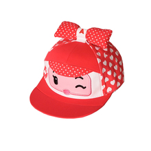 High Quality Cute Cartoon Baseball Cap Girl with Bow Pink Girls Hip Hop Hat Snapback
