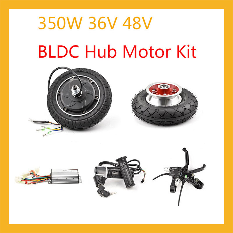 DIY <font><b>Electric</b></font> <font><b>Scooter</b></font> Hub <font><b>Motor</b></font> <font><b>Wheel</b></font> Kit 36V 48V 350W BLDC Brushless Non-Gear Hub <font><b>Motors</b></font> 8inch <font><b>Electric</b></font> Bike Conversion Kits image
