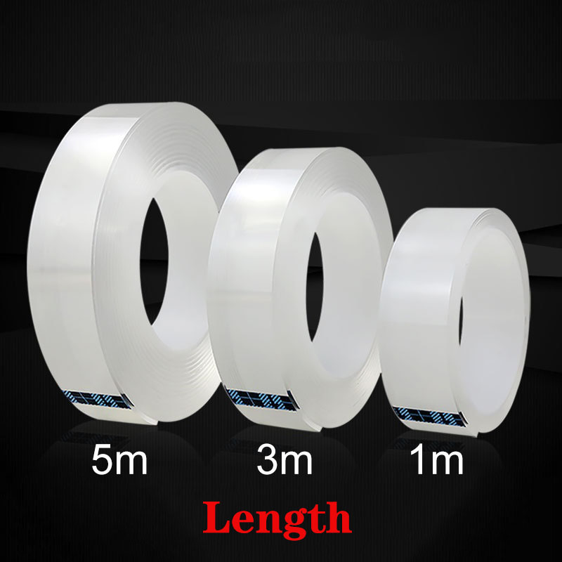1M Reusable Double-Sided Nano Magic Tape Transparent No Trace Acrylic Waterproof 3m Adhesive Tape Cleanable Home Improvemen