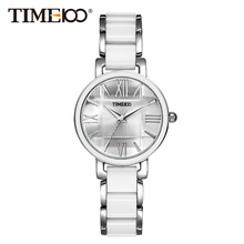 Time100 W50910L.01A Reloj pulsera de joya para mujer con materia copia cerámica de color blanco, correa de joyería con esfera aleación