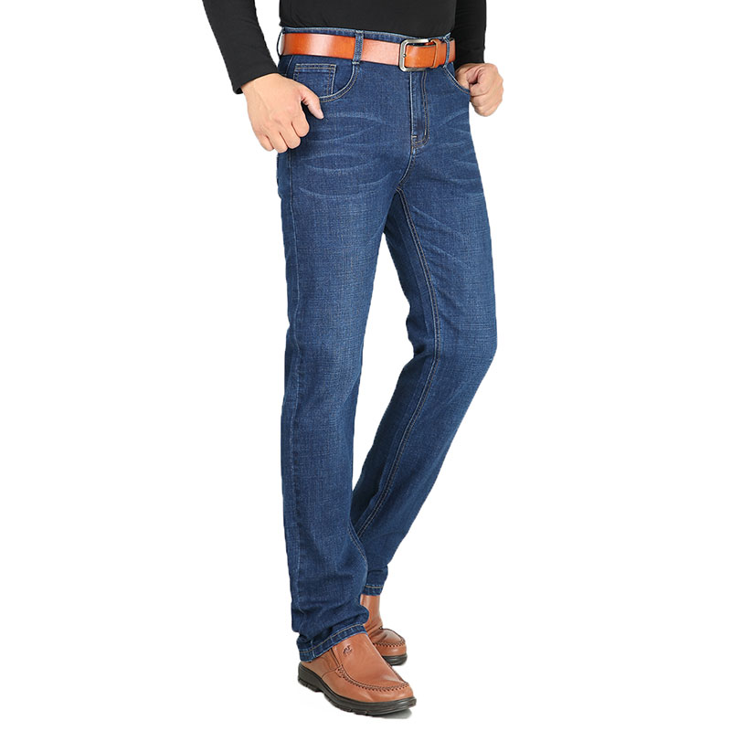 Baggy Men Jeans Stretch Classic Cotton Trousers Men Casual Dark Blue Denim Loose Spring Autumn Pants Size 38 40 HLX136 moruancle men s baggy cargo jeans pants loose straight tactical denim trousers for big and tall size 29 46 side zipper pockets
