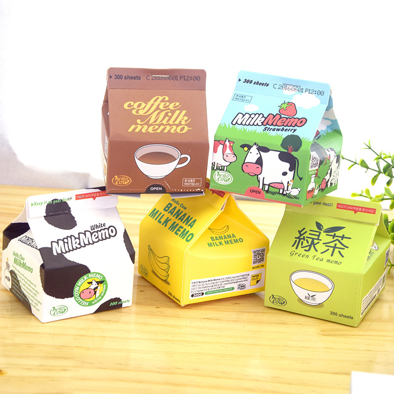 230Pcs/lot Portable Milk Box Series Memo Pad Note Paper Bookmark School Office Stationery Student Supply
