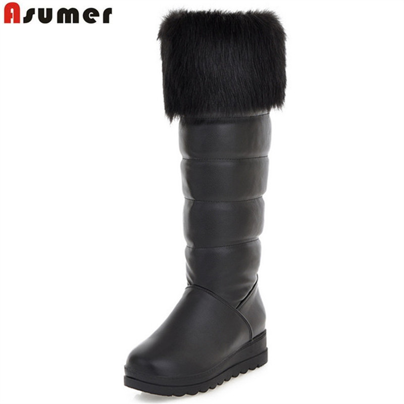 Asumer Plus Size 34-42 warm Snow Boots thick fur platform women's winter boots flat heels knee high boots shoes woman цены онлайн