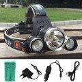 12000LM LEVOU L2 + 2R5 Farol Cabeça Lanterna Tocha Lanterna de iluminação Da Lâmpada de Luz de Pesca + 18650 bateria + carregador de Carro USB Carregador AC