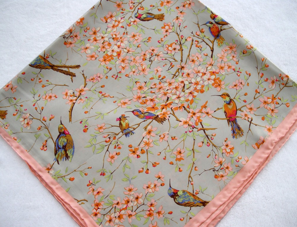 Fashion Birds And Pink Peach Flowers Womens Scarves Pure Silk Scarf Women Hand Roll-Hemmed Silk Twill Infinity Square Shawl