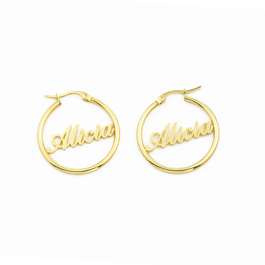 1 Pair Rose Gold Custom Name Earrings For Women Personalized Stainless Steel Nameplate Hoop Earings Fashion Jewelry Brincos 2018 цена 2017