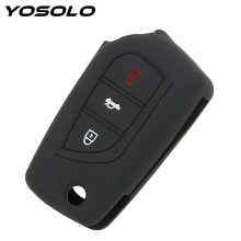 YOSOLO Silicone Car Remote Key Fob Shell For Toyota Auris Corolla Avensis Verso Yaris Aygo Scion TC IM 2015 2016 Key Cover Case(China)