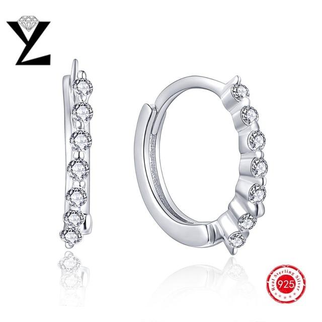 High Quality White Gold Plated CZ Diamond Cubic Zircon Hoop Earrings for Women Fashion Wedding Jewelry Silver Earrings