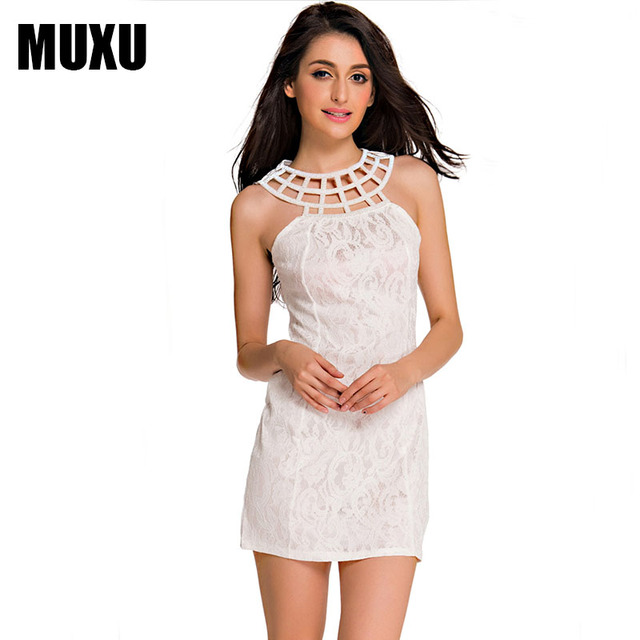 82f27535872 MUXU vestidos summer sexy white lace women clothing dresses crochet sundress  fashion mini dress clothes women bodycon dress 2018