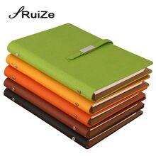 RuiZe פו עור ספירלת מחברת A5 משרד עסקים מתכנן סדר יום 2020 עלה רופף הערה ספר 6 טבעת קלסר פנקס מכתבים