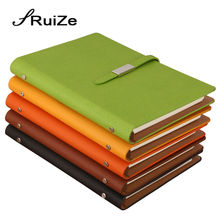 RuiZe pu leather A5 spiral notebook office notepad planner creative stationery loose leaf note book hard cover 6 ring binder creative stationery leather spiral notebook a5 a6 a7 b5 metal ring binder planner organizer office supplies journal book