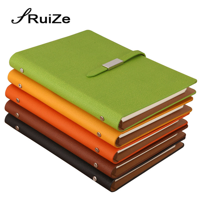 RuiZe Faux leather spiral notebook A5 office planner agenda organizer business stationery loose leaf note book 6 ring binder