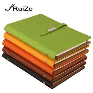 Image 1 - Спиральный блокнот из искусственной кожи RuiZe, офисный блокнот формата A5, 2020, блокнот с листьями россыпью, блокнот с 6 кольцами, канцелярские принадлежности