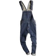 цена на 2019 Men's Hip Hop Siamese Bib Pants Women's Slim Pants Retro Overalls Men's Korean Blue Jeans More Size S-XXXL 4XL 5XL