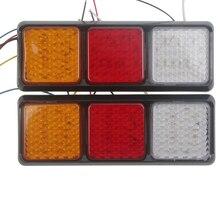 2Pcs 108LED Plastic Car Rear Tail Lights 12V Truck Trailer Stop Turn Signal Reverse Lamp