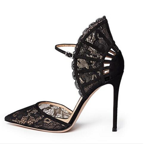 Black Lace Pointed Toe Pumps Women High Heel Ankle Strap Fan-shaped Sandals Cut-out Peep Toe Lady Party Dress Shoes Free Ship red patent leather strappy sandals cut out ankle strap buckle high heel shoes peep toe cage shoes women summer dress shoes