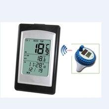 اللاسلكية تجمع ميزان الحرارة مقاوم للماء الطاقة الشمسية السباحة سبا بركة حوض حمام الرقمية LCD العائمة المياه مقياس الحرارة 40C ~ 60C