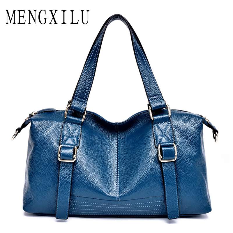MENGXILU Fashion Women Boston Shoulder Bag Genuinue Leather Handbags Large Capacity Casual Bag Female Tote Bags Sac A Main women canvas bag ladies shoulder bags female patchwork handbags women original brands large capacity casual tote bags sac a main