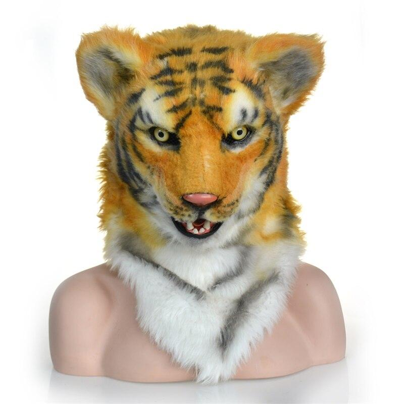 Halloween traje teatro prop alta qualidade novidade pele tigre máscara animal