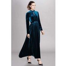 2005f6a39 Pasarela 2018 Otoño Invierno mujer negro/azul vestido de terciopelo cuello  alto lazo cinturón drapeado