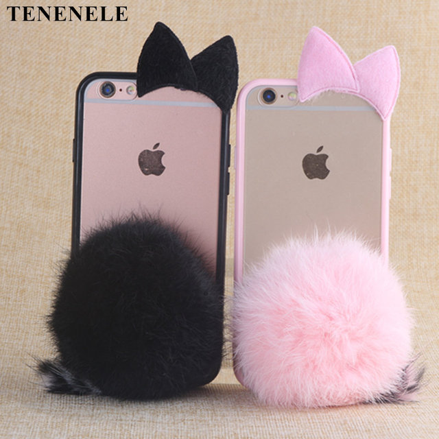 TENENELE Case For Iphone 6 6S Case Cute Fur Furry Ball Rabbit Cover Soft Silicone Cases For