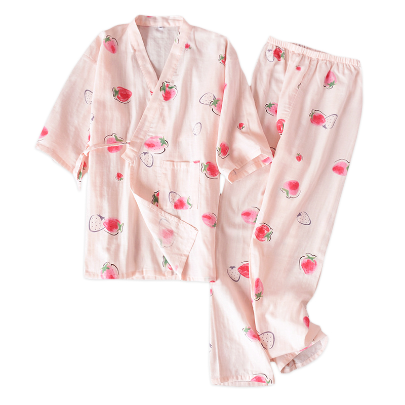 Summer sweet Japanese kimono robes women cute strawberry short sleeves 100% cotton   pajamas     sets   simple Robes   set   for women