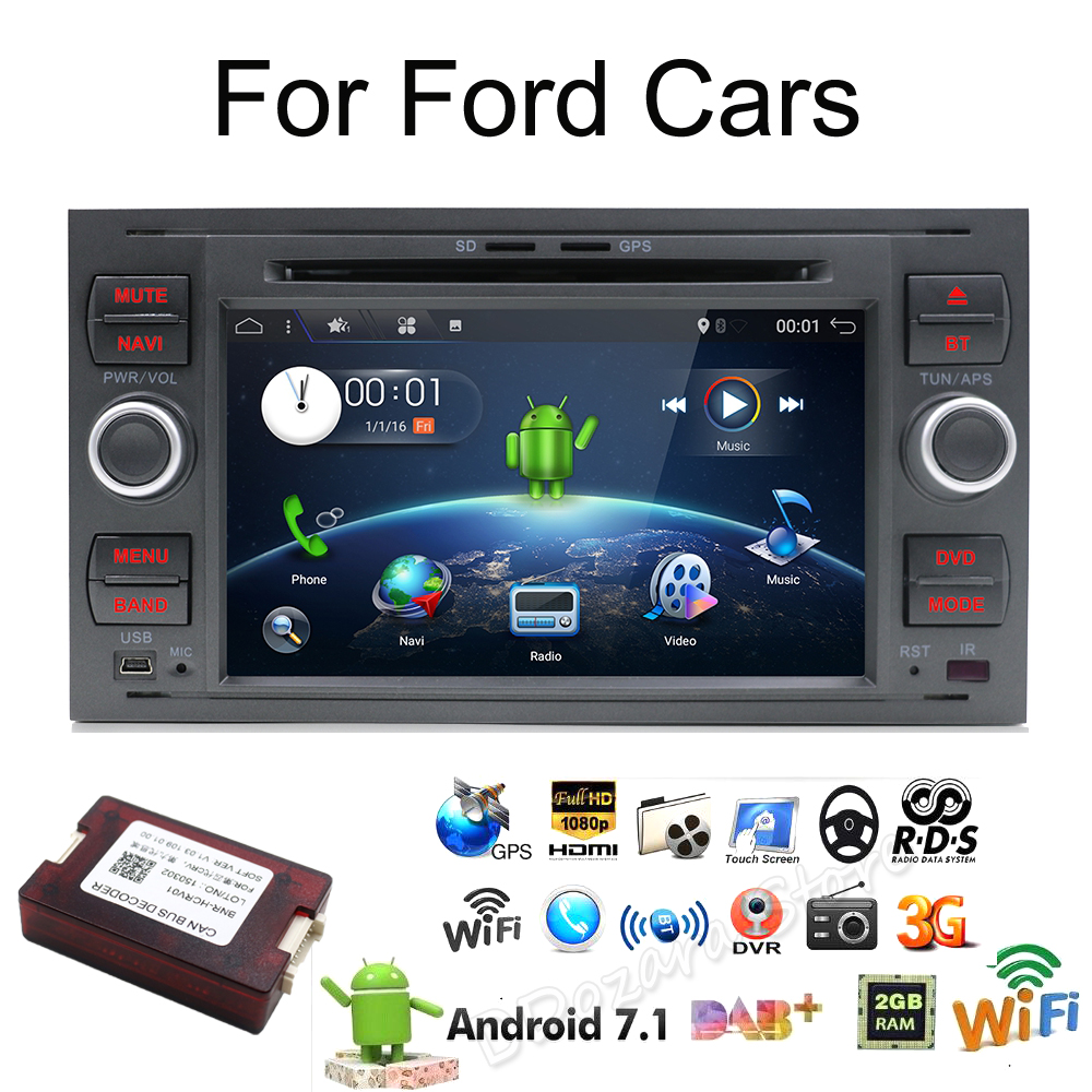 2 din Android 7.1 Quad Core Car DVD Player GPS Navi for FORD FOCUS/MONDEO/C-MAX with Audio Radio Stereo Head Unit Free Canbus цена 2017