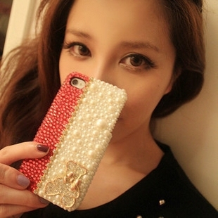 Handmade (Pearl Bear) case for iphone5 5s case phone bag protective sleeve shell phone shell diamond
