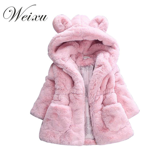 15070b159 Weixu Baby Girls Jackets Brand Winter Kids Faux Fur Pink Cute Ear ...