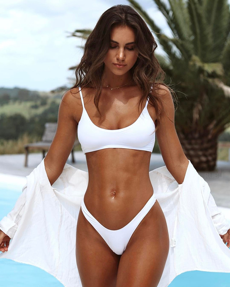 d679dc1b4b7a4 ... New Model Women Sexy Bikini Set Solid Bikinis Black or White Low Waist  Female Swimsuit 2