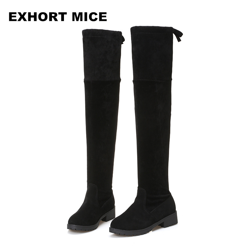 2017 Faux Suede Slim Boots Sexy over the knee high women snow boots women's fashion winter thigh  boots shoes woman ppnu woman winter nubuck genuine leather over the knee snow boots women fashion womens suede thigh high boots ladies shoes flats