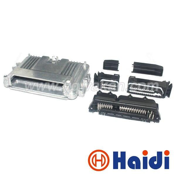 Livraison gratuite 1 set 80 p ECU boîtier en aluminium avec boîtier 80pin moteur voiture LPG CNG Conversion mâle femelle connecteur automatique