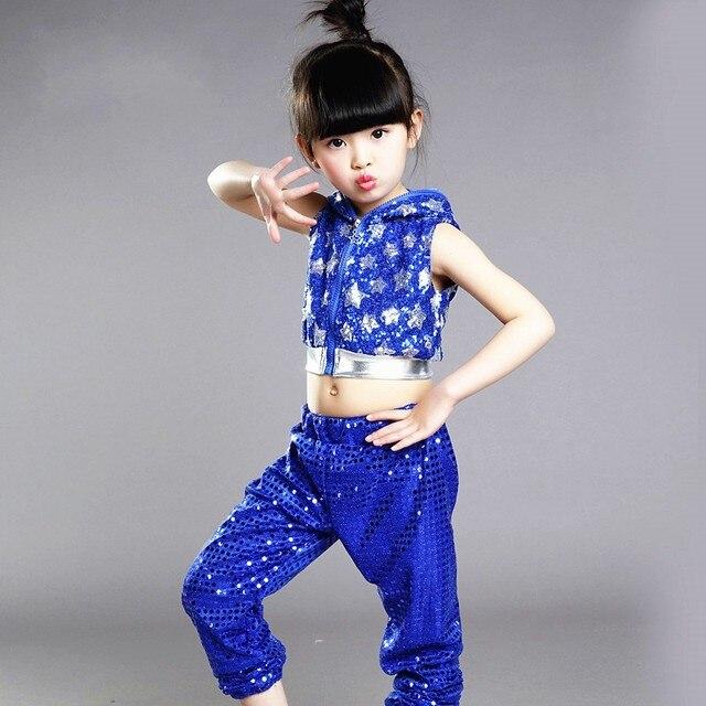 Nueva Lentejuelas muchacho Niñas hip hop traje moderno Jazz dancewear Top    Pantalones performance ropa para 0c83263a1e5