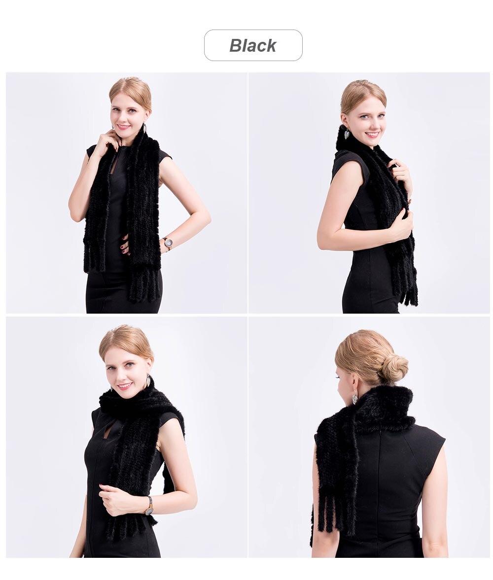 mink fur scarf color black