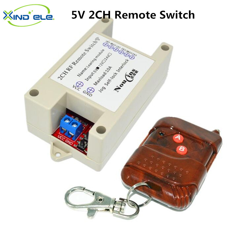 2CH 5V Wireless Remote Control Light Switch Receiver Relay Module 433MHz RF ON/OFF Switches for Lamp Light Motor Gaage Door new 1transmitter &4receiver module wireless remote control encoding module system momentery latched rf remote control switches