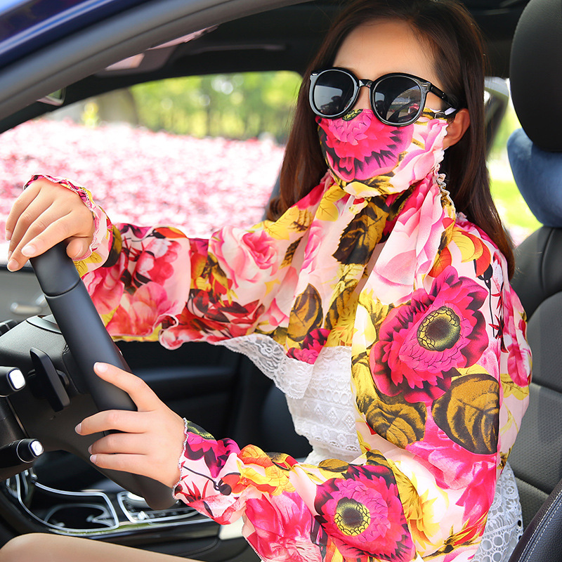 3pcs/Pack Women Face Mouth Masks Sun Summercycling Face Mask Sport Mask Protective Neck Mask Sleeve Chiffon Scarf
