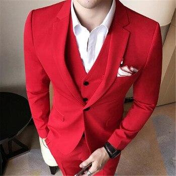 2018 New Red Men Suits Custom Made 3 Piece (Jacket+Pants+Vest+Tie) Fashion Classic Men Wedding Tuxedos Blazer Latest Design