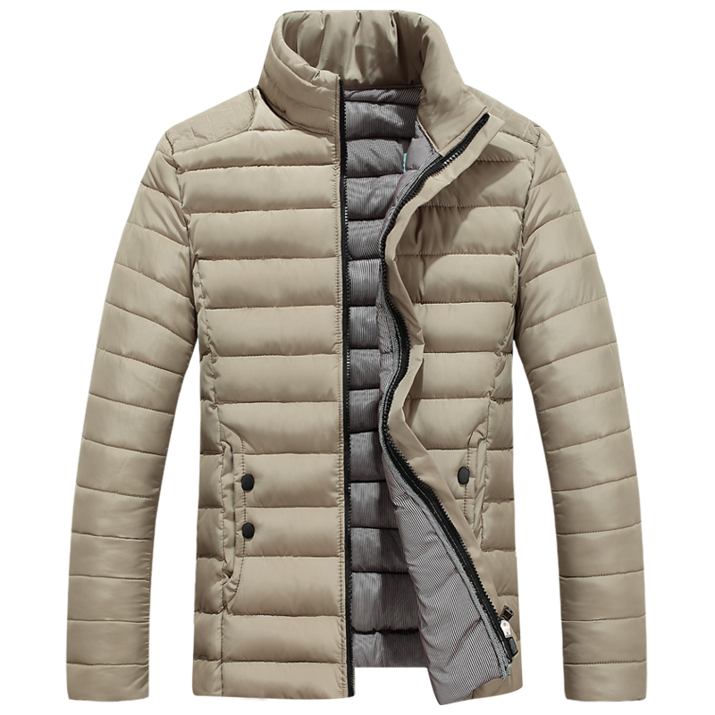 Men Cotton Padded Warm Thicken Short Jacket Clothing Stand Collar Solid Parkas Coat