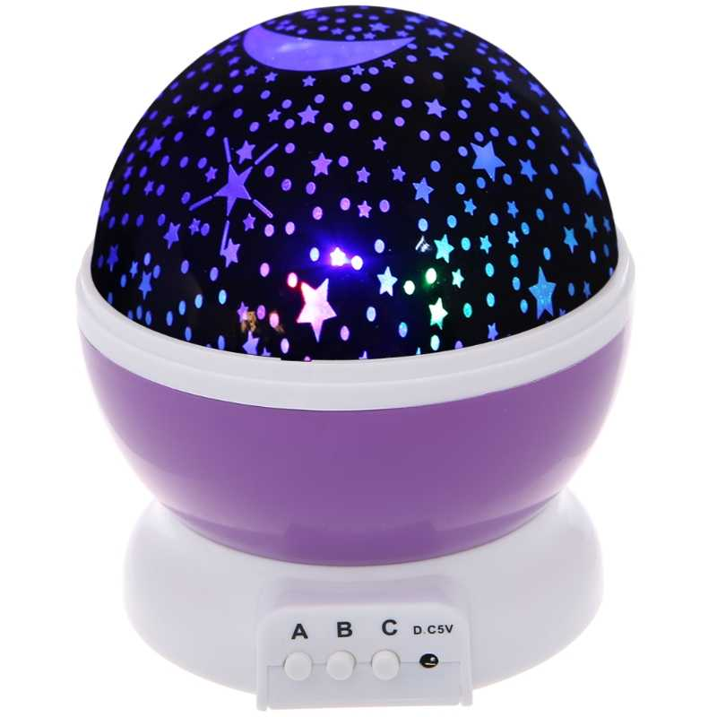 CHICLITS LED Projector Lamp RGB Blinking USB Starry Star Moon Romantic 360 Rotating Room Decoration  As Brithday Gift Moon Lamp